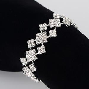 Shiny Rhinestone Crystal Geometric Bracelet Sweet Minimalist Bride Wristband Ornament Jewelry Wholesale