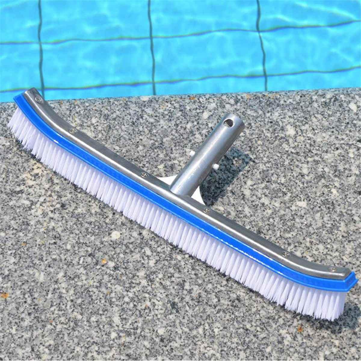18in, cepillo de pared duradero para piscina, herramienta de limpieza, mango de aluminio para estanque, Spa, piscinas de resortes calientes, limpiador de algas para exteriores