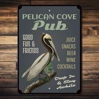 pelican beach cove pub tin sign metal sign metal poster metal decor