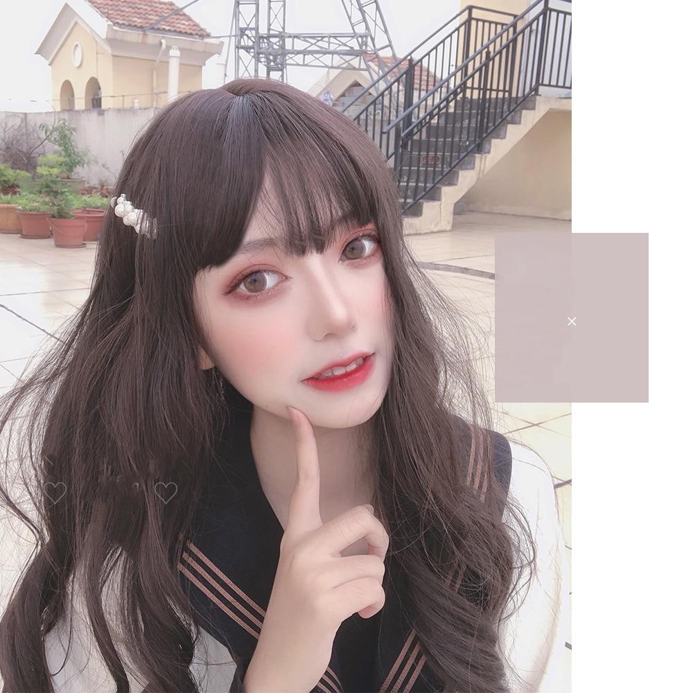 MANWEI Lolita 55 Inches Long Wavy Brown Grey Doll Japan Cute Ladies Synthetic Hair Cosplay Wig
