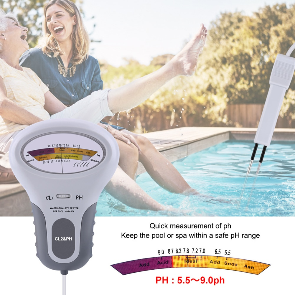 휴대용 스파 PH 염소 측정기 PH Cl2 레벨 테스터 간편한 수영장 수영장 수질 내구성 부품