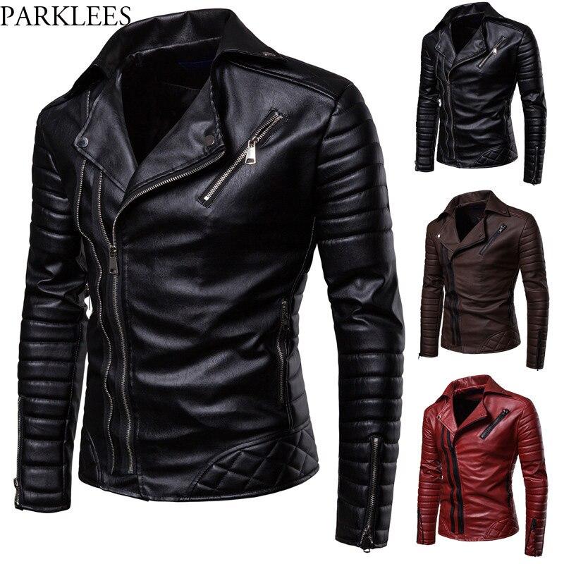 Obique Zipper Motorcycle Leather Jacket Men 2018 Stylish Striped Winter Windproof Casaco Masculino PU Leather Jackets Coats Mens