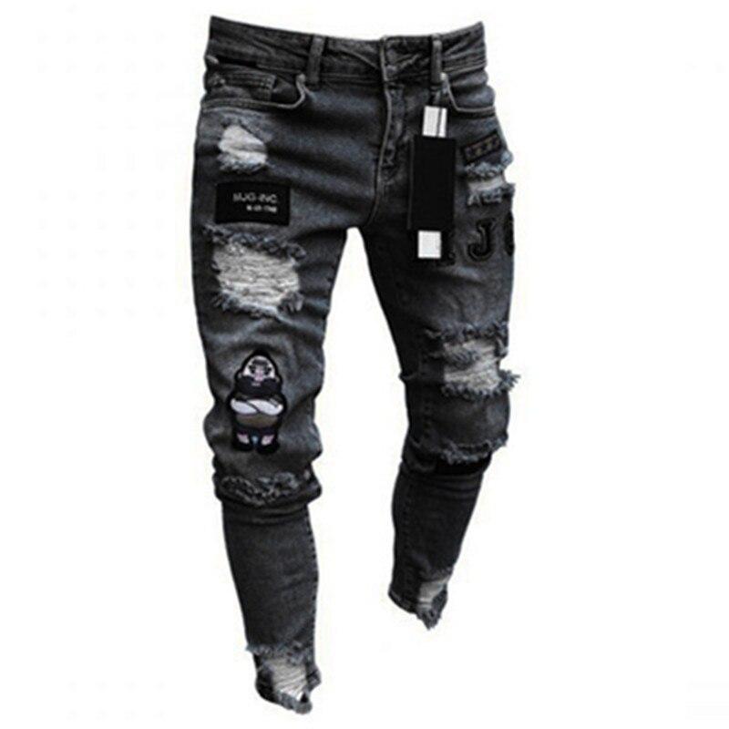 Мужские джинсы-карандаш с вышивкой горячая Распродажа, облегающие мужские брюки, байкерские джинсовые брюки с вышивкой, классические высок...