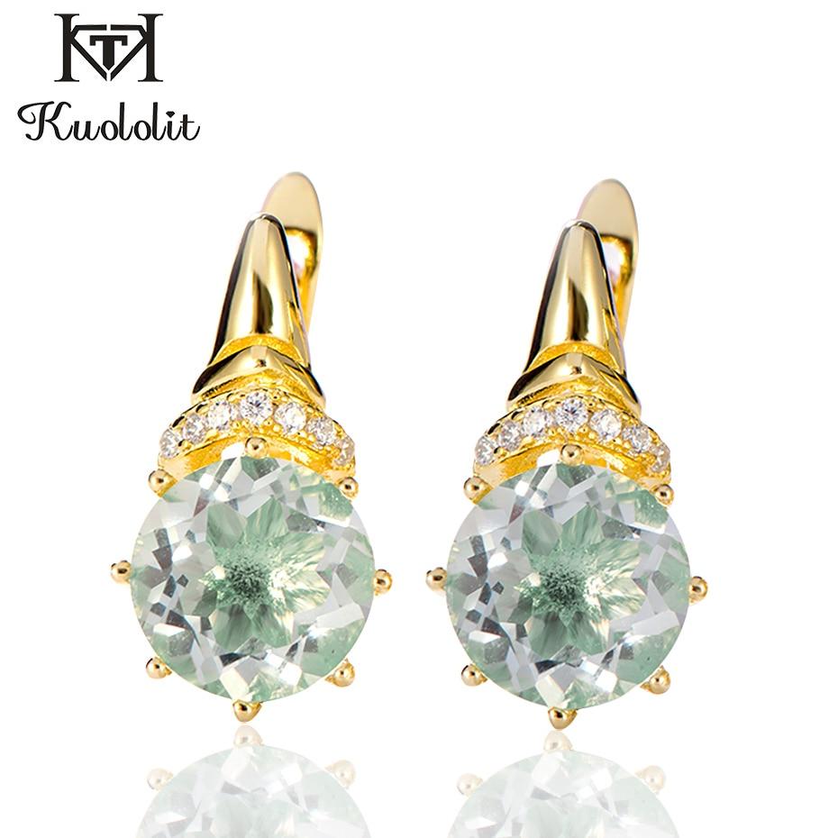 Kuololit 100% Natürliche Grüne Amethyst Clip Ohrringe für Frauen 925 Sterling Silber Gelb Gold Farbe Ohrringe Geschenke Edlen Schmuck
