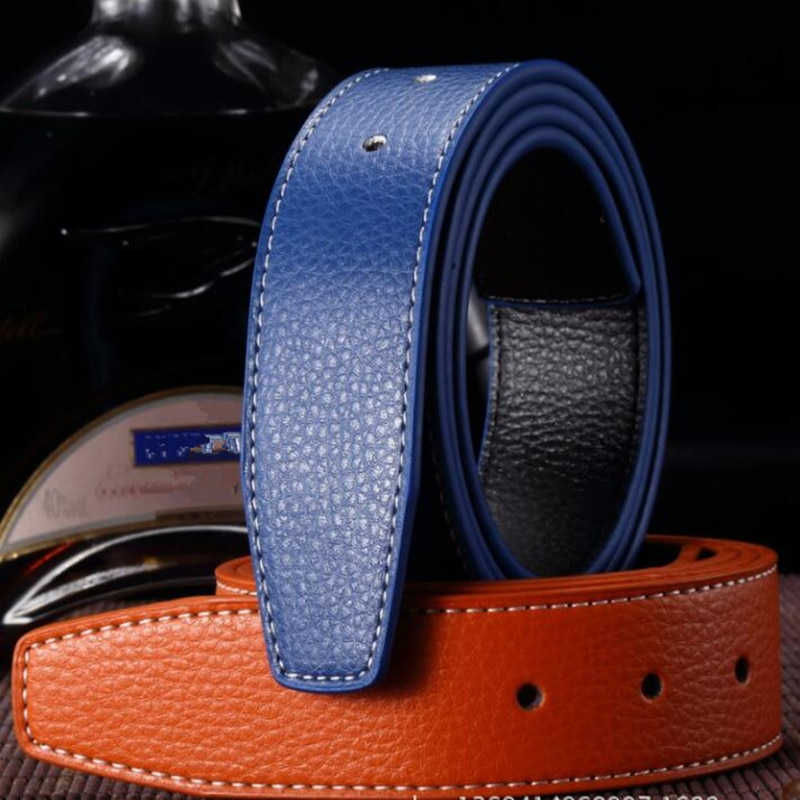 Luxury Genuine leather men belt Pin buckle belt body smooth punching double-sided leather belt buckle body without buckle punch free mop double buckle creative non trace bathroom stick double buckle broom double buckle