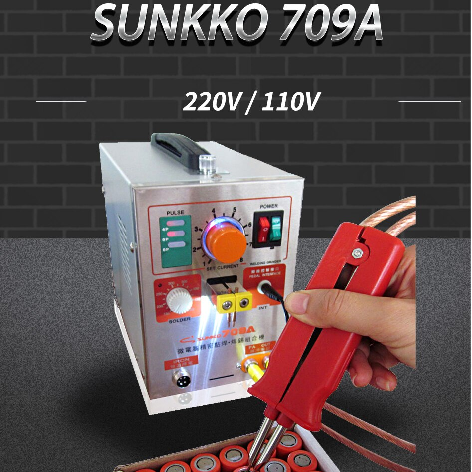 SUNKKO 709A with 70B Spot Welder 1.9KW LED light Pulse Battery Spot Welding Machine for 18650 battery pack welding precision