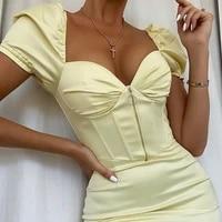 womens summer dress 2021 spring fashion robe woman dress solid color short sleeve slim beach party sexy mini dresses vestidos