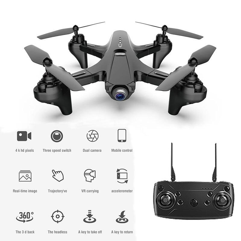 LSRC-TUT Dron plegable con dos cámaras RC Quadcopter Wifi FPV Drone Quadrocopter con cámara 360 ° desplazable Modo para mantener la altitud