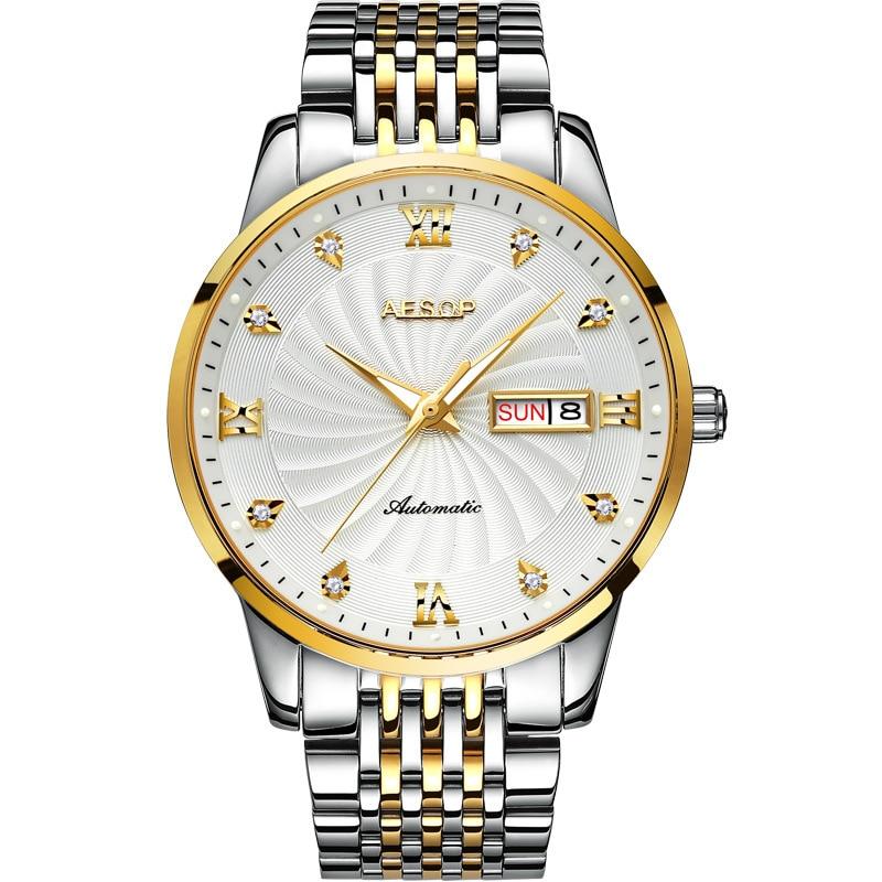 AESOP Brand Luxury Watches Men Fashion Waterproof Gold Calendar Business Automatic Mechanical Wristwatch Clock Relogio Masculino enlarge
