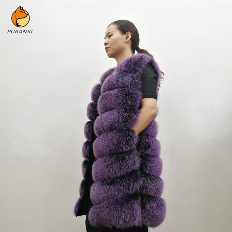 2019 women's natural real blue fox fur vest waistcoat gilet coat jacket sleeveless thick warm winter long genuine luxury pluse