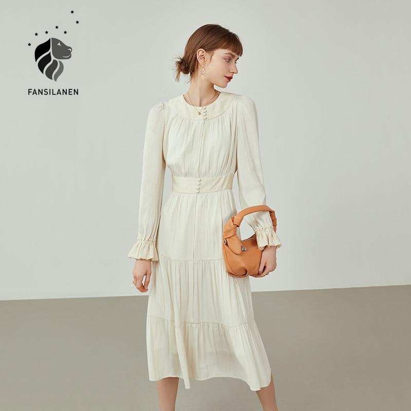 FANSILANEN مكتب سيدة حديثا الخريف 2021 مي المشمش مزاجه فستان المرأة طويلة الأكمام رقيقة كعكة الجنية تنورة فستان المرأة