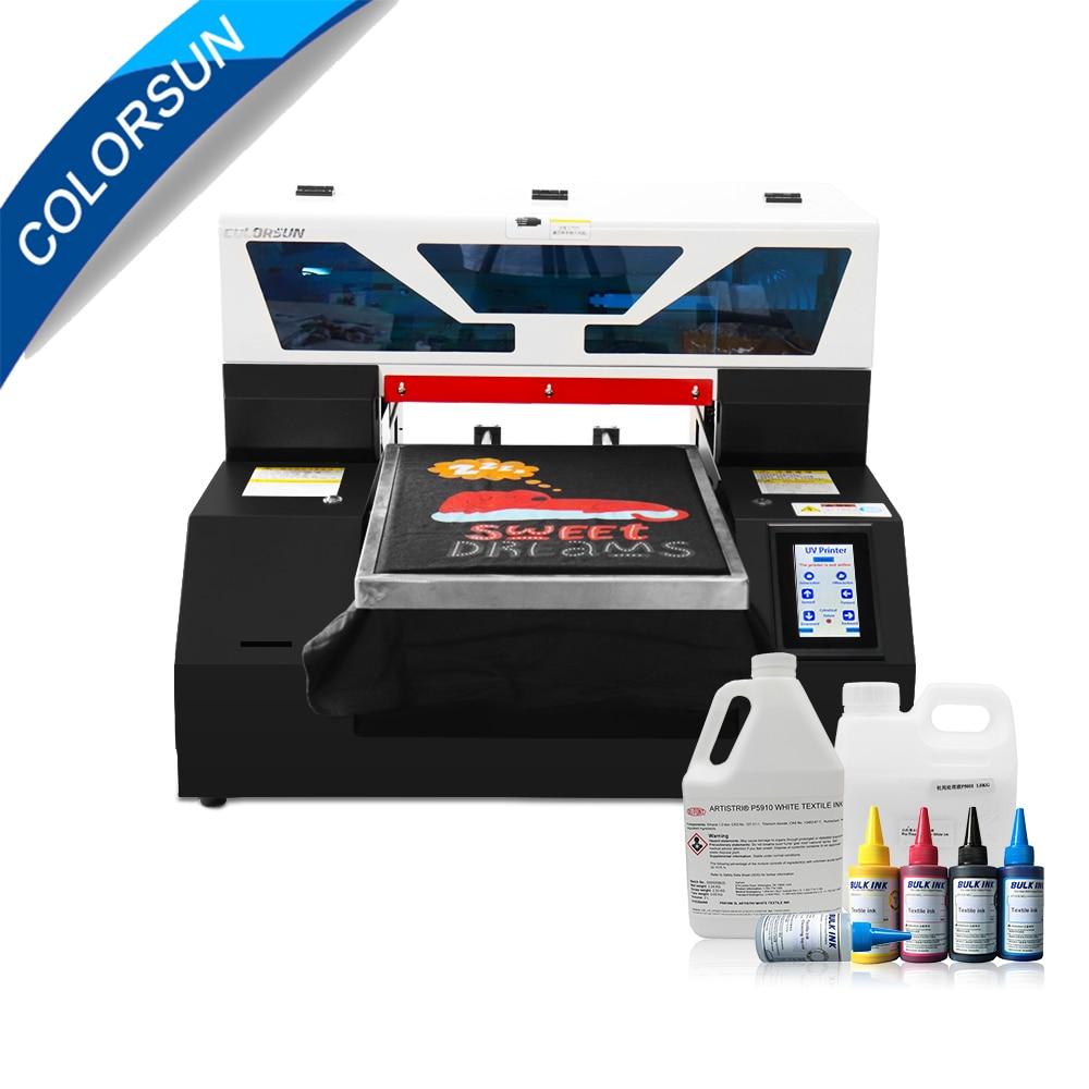 Colorsun automático dtg A3 dark t-shirts Jeans impresora de tela textil A3, impresora plana con pantalla táctil y sistema de ciclo de tinta blanca