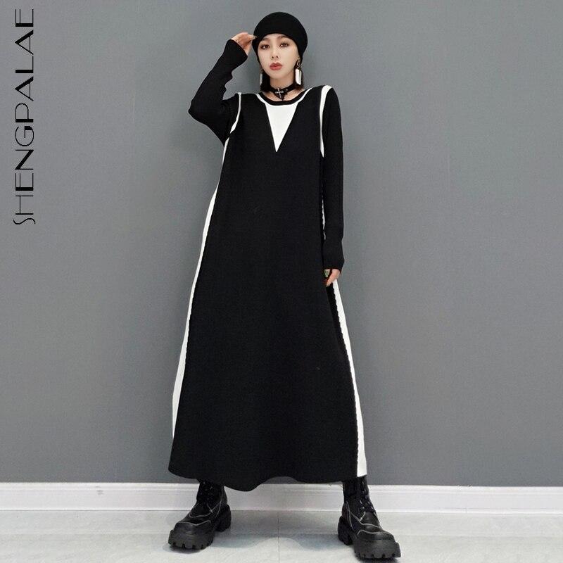 SHENGPALAE الموضة التباين اللون محبوك فستان المرأة الخريف 2021 جديد جولة الرقبة طويلة الأكمام منتصف العجل فساتين الإناث المد