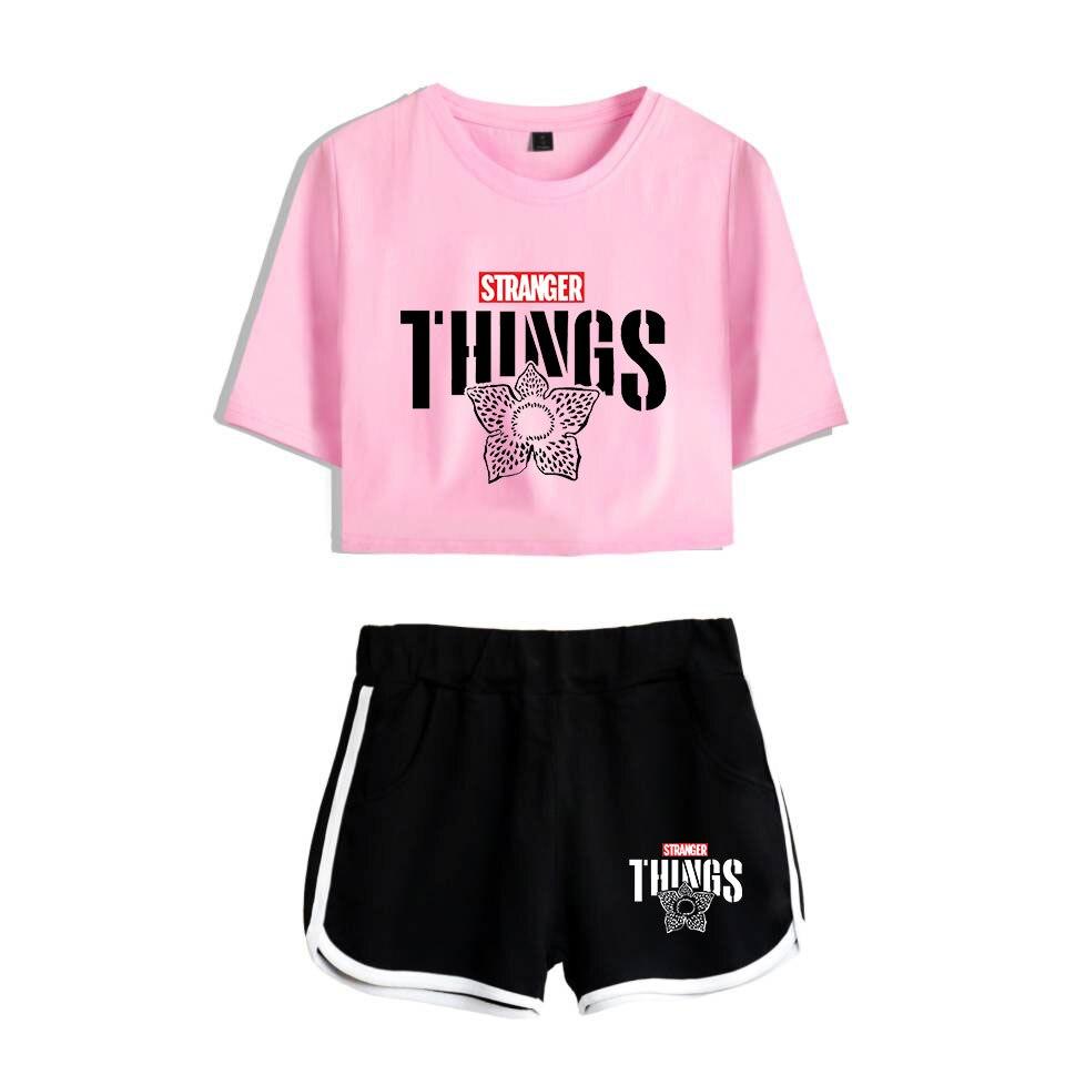 Stranger things-تي شيرت وشورت نسائي ، ملابس رياضية ، مثير ، تي شيرت ، ملابس ترفيهية ، طقم من قطعتين