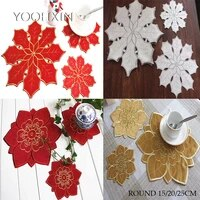 round satin embroidery lace table place mat cloth pad cup coaster placemat doily kitchen wedding christmas party decor tableware