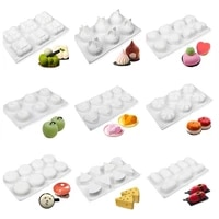 silicone cake mold french dessert pudding jelly household heart shape circular moussecake mold soap mold baking tools for cakes