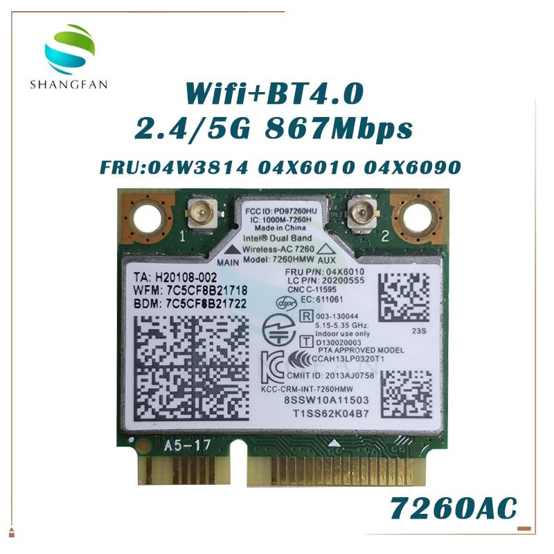 Двухдиапазонный беспроводной-AC 7260HMW 7260AC FRU: 04X6090 04X6010 Половина мини PCI-e BT WIFI карта для IBM E440 S540 S310 E73Z S1 YOGA M5400