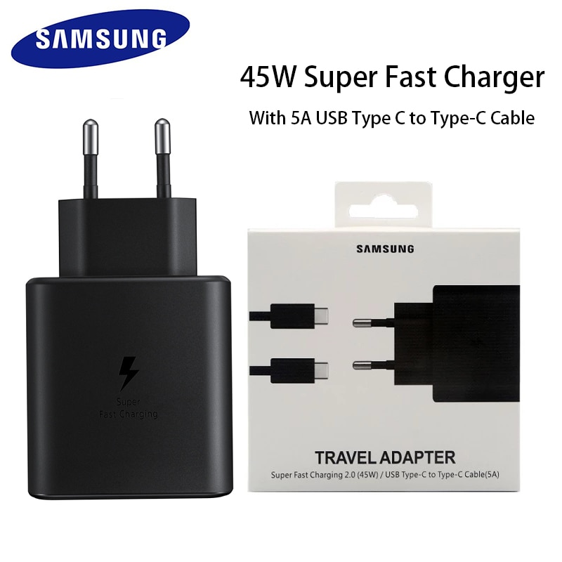 Original Samsung Fast Charger 45W Quick Adapter Type C Cable for Samsung GALAXY Note 10 20 S20 Plus