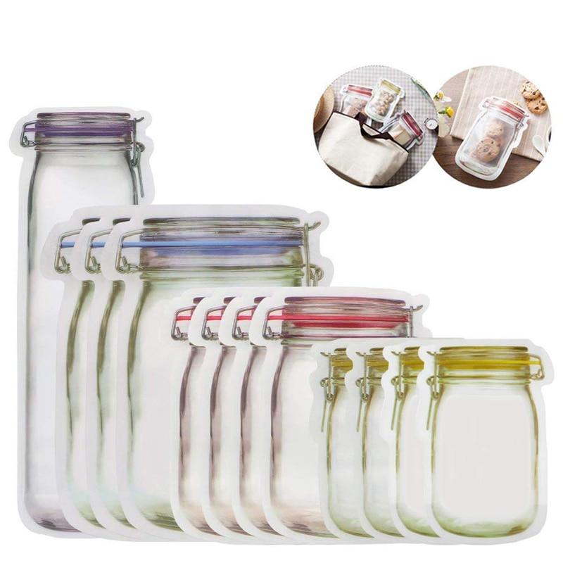 Sello reutilizable tarro de masón botellas organizadoras bolsas contenedor de alimentos bolsas de cremallera organizador de almacenamiento de alimentos bolsas Ziplock organizador de cocina