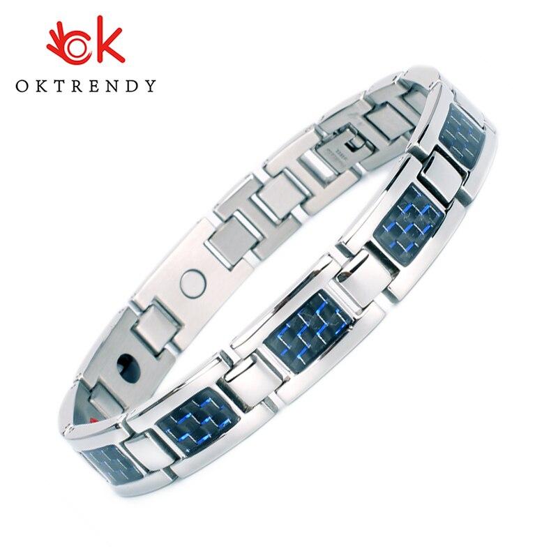 Oktrendy germânio magnético pulseira de tênis masculino bio magnético titânio pulseira para artrite azul bracelett