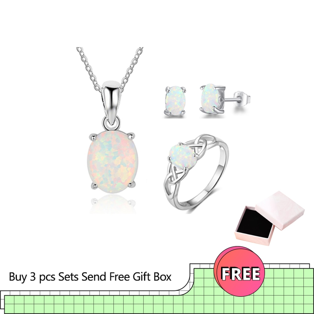 Trendy 925 Sterling Silver Opal Jewelry Pendant Necklace Earrings Ring Sets for Women Wedding Bridal Jewelry Sets (Lam Hub Fong) 925 sterling silver opal stone wedding bridal jewelry sets earrings for women costume jewelry pendant necklace ring set gift box