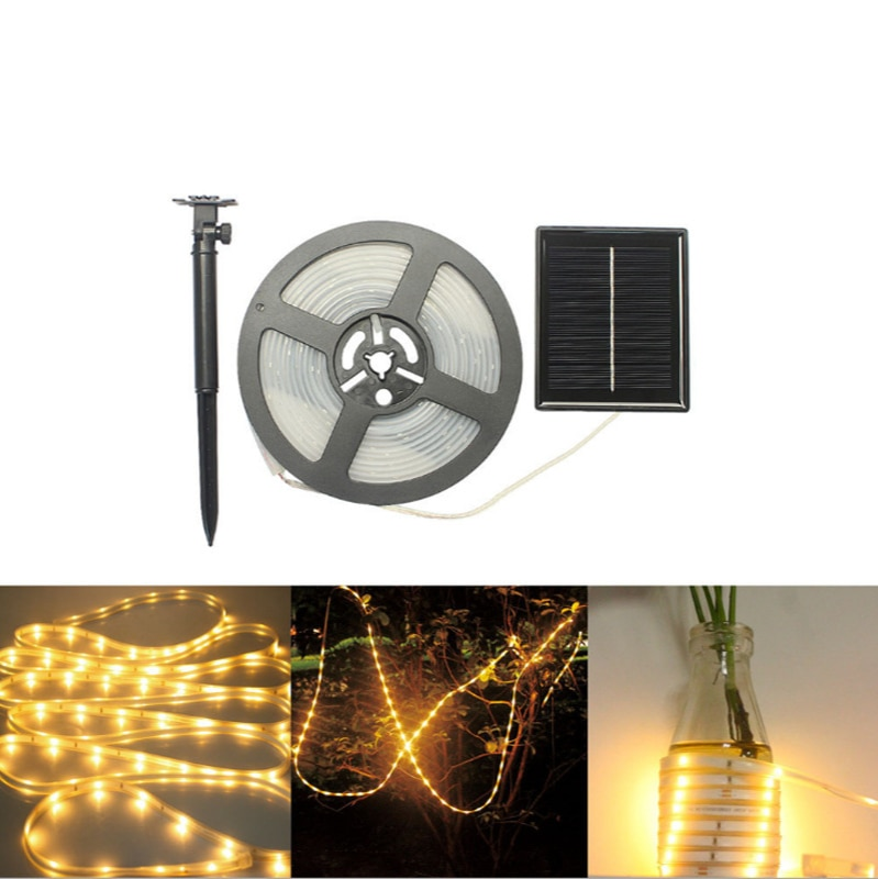 Solar Power Outdoor RGB Flexible Colorful Lighting Ribbon Tape Waterproof LED Strip The Beautiful Background Atmosphere Tool