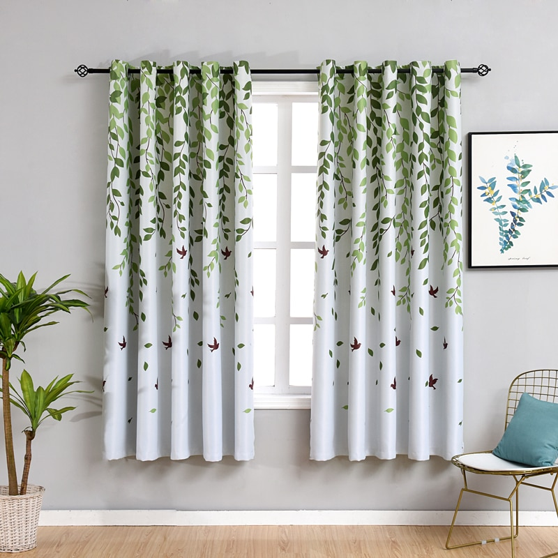 Rustic Short Curtains for Kitchen Pastoral Plant Bedroom Decorations Window Curtain Living Room Green Drapes