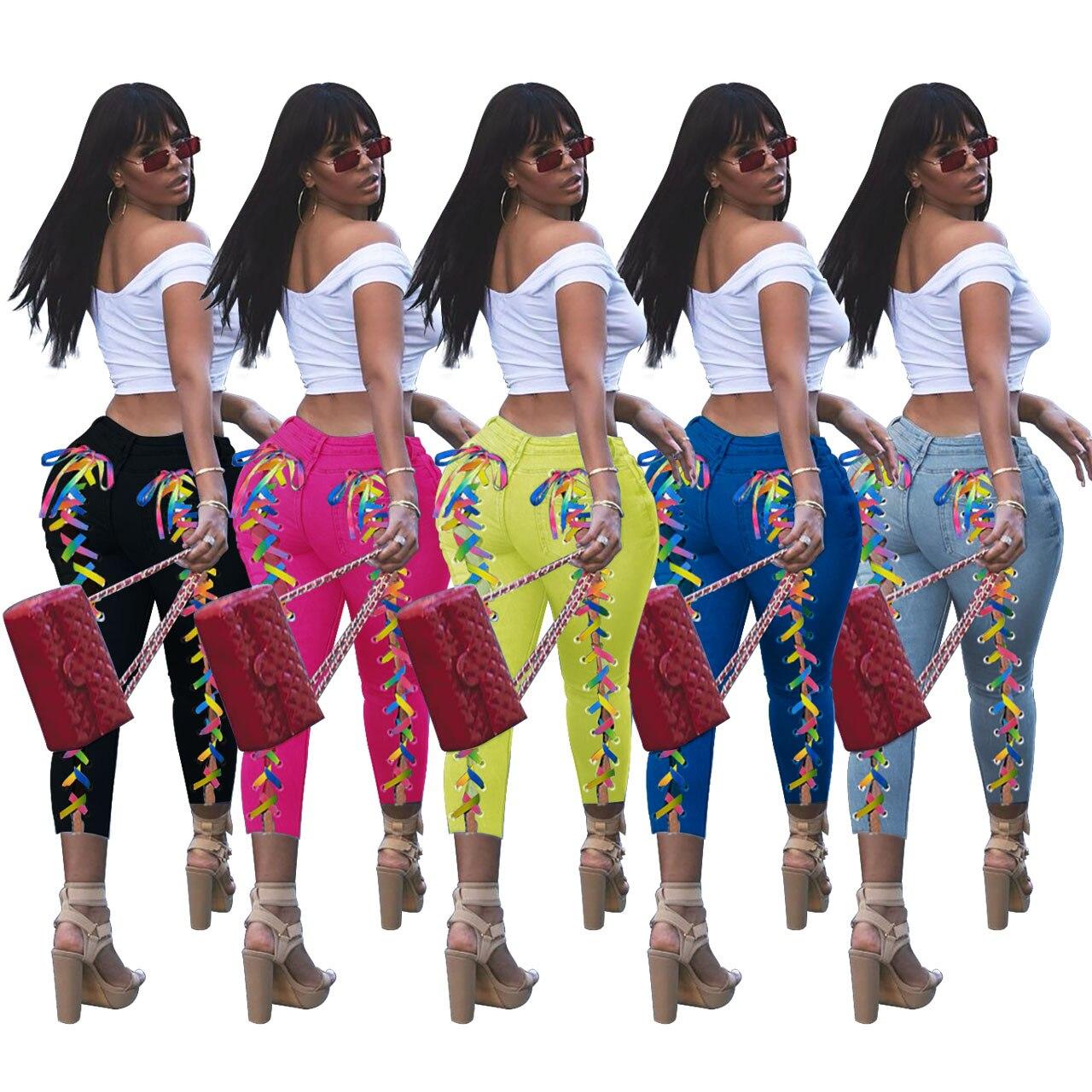 Женские облегающие джинсы в уличном стиле, модные брюки в стиле Харадзюку со шнуровкой и разрезом, джинсы с заниженной талией