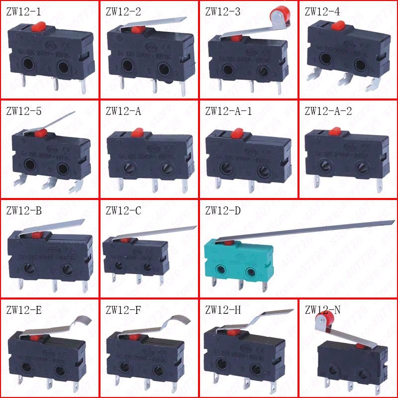 5Pcs/Lot Micro Switch 10mm x 20mm Limit Switch 3 Pin/2 Pin 5A 250VAC ZW12 Series Tact Switch On Off chint travel switch yblx jw2 11z 3 limit switch