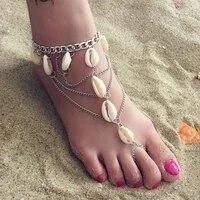 beach sandals women 2021 boho vintage ankle bracelet jewelry shell tassel foot chain bohemia accessories
