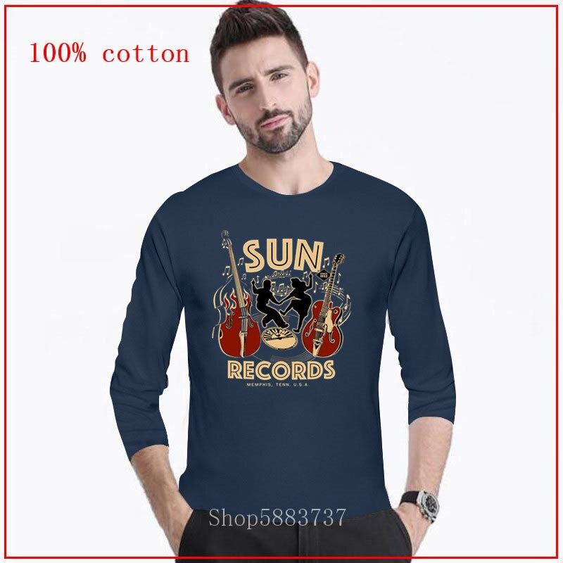 2020 Sun Records Media Company, лейбл, качалка, петух, мужские повседневные мужские футболки, мужские футболки, Длинные Топы, футболка для мужчин