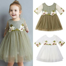 Dropshipping Flower Girl Princess Dress Kids Baby Party Wedding Bridesmaid Tulle Tutu Dresses