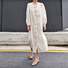V-neck Single-breasted Loose Long Women's Clothing Solid Color Dress 2021 Autumn New Japanese Style
