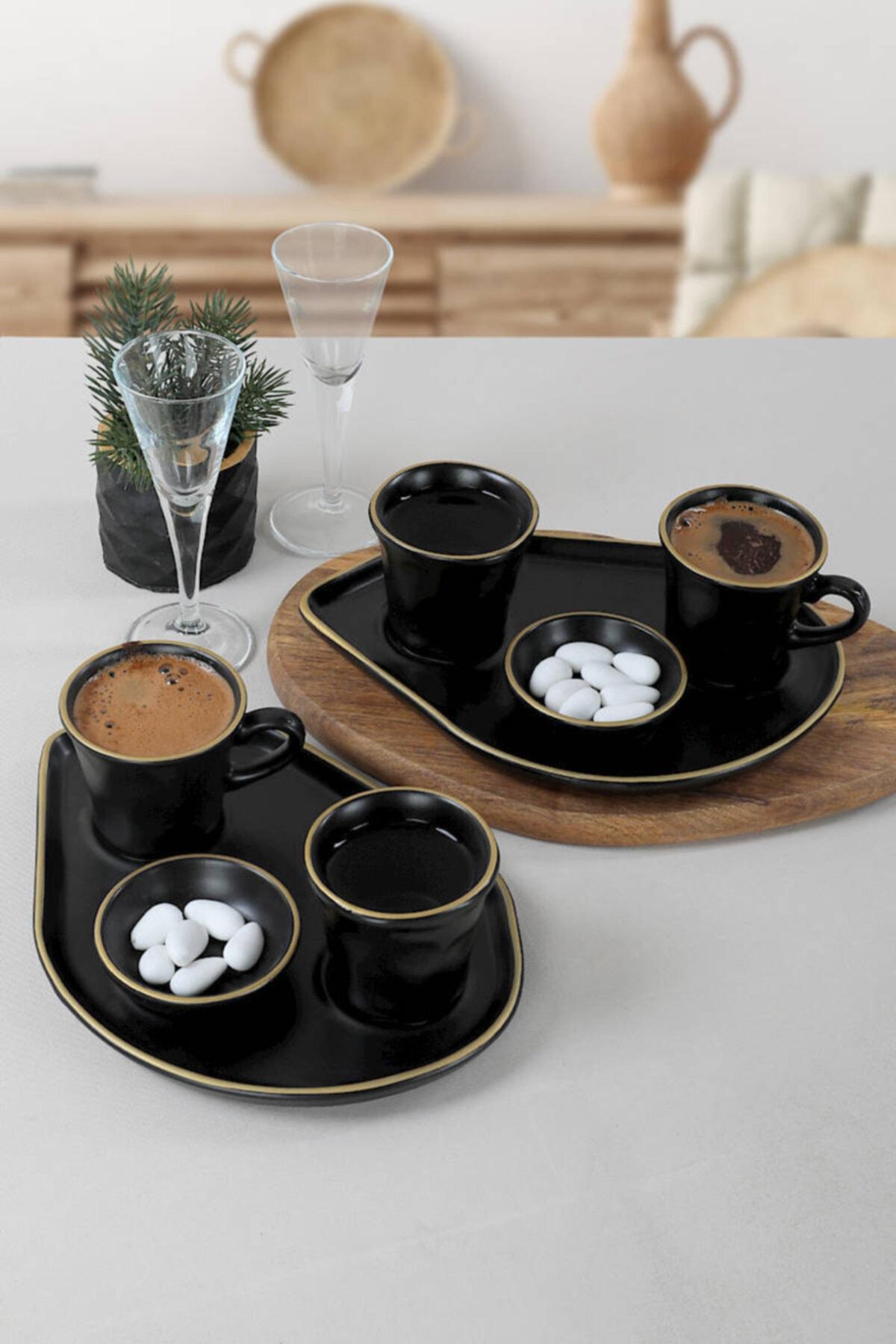 Karamika- 2 شخصية 8 قطعة القهوة التركية-اسبريسو التموين-مجموعة التقديم.