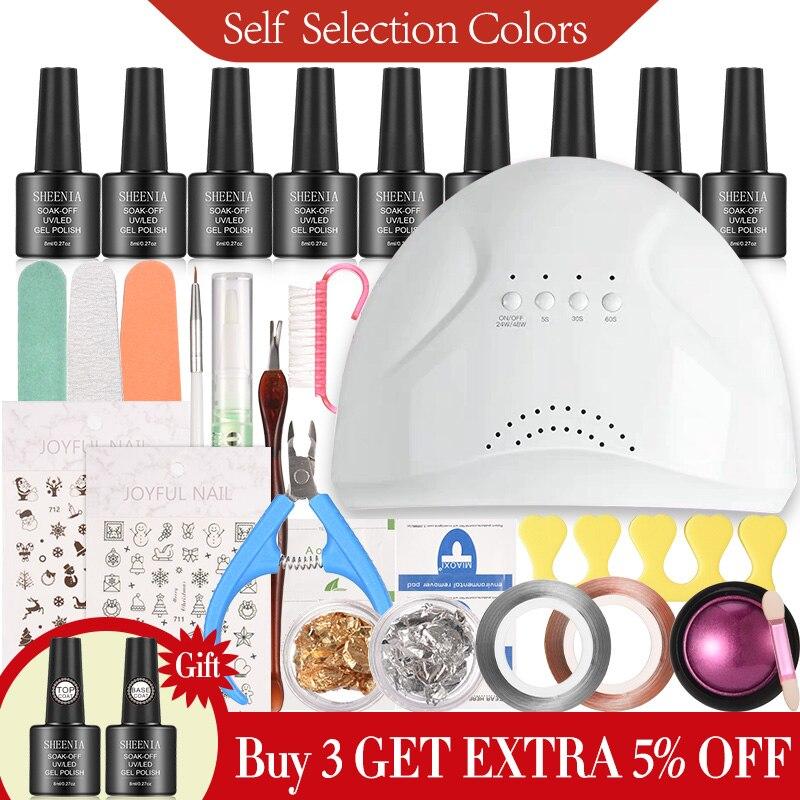 Juego de uñas 48W lámpara LED UV secador de uñas Kit de esmalte de Gel remojo de herramientas eléctricas de manicura Set Base capa superior para herramientas de arte de uñas