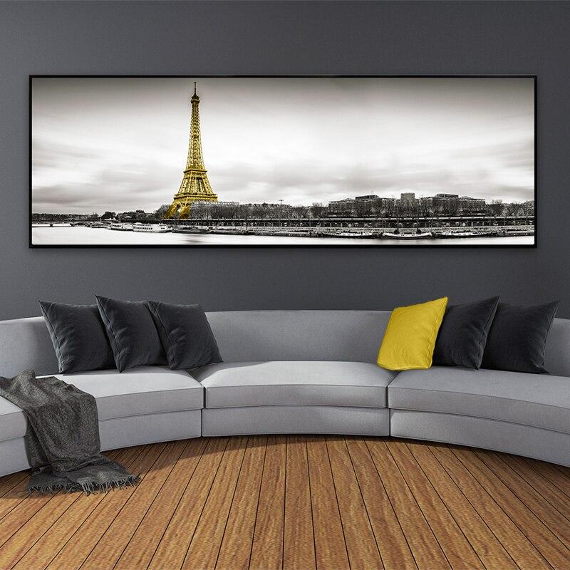 Paisaje, Escena de Torre Eiffel Paris, pinturas en lienzo horizontales, impresiones de carteles nórdicos, imágenes artísticas de pared para la decoración del hogar de la sala de estar