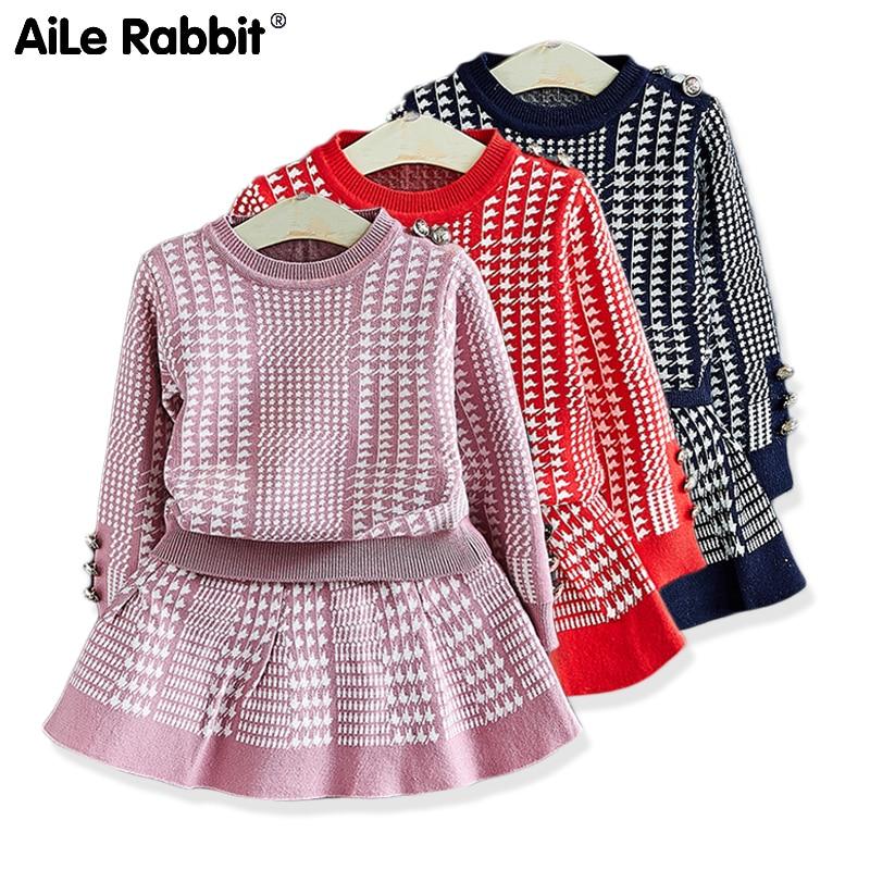 Suéter de niña 2019 tejido sin forro ropa superior traje falda estilo occidental vestido de moda niños ropa niños Twinset