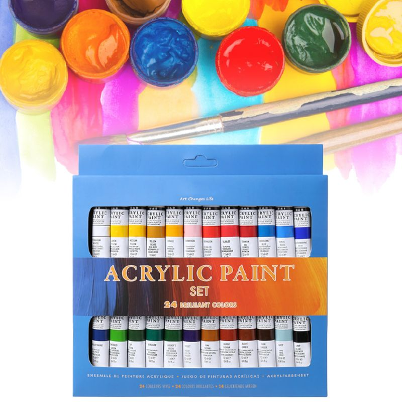 24 Colors Acrylic Paints Set 12ml Tubes Drawing Painting Pigment Hand-painted Wall Paint for artist DIY R2JF
