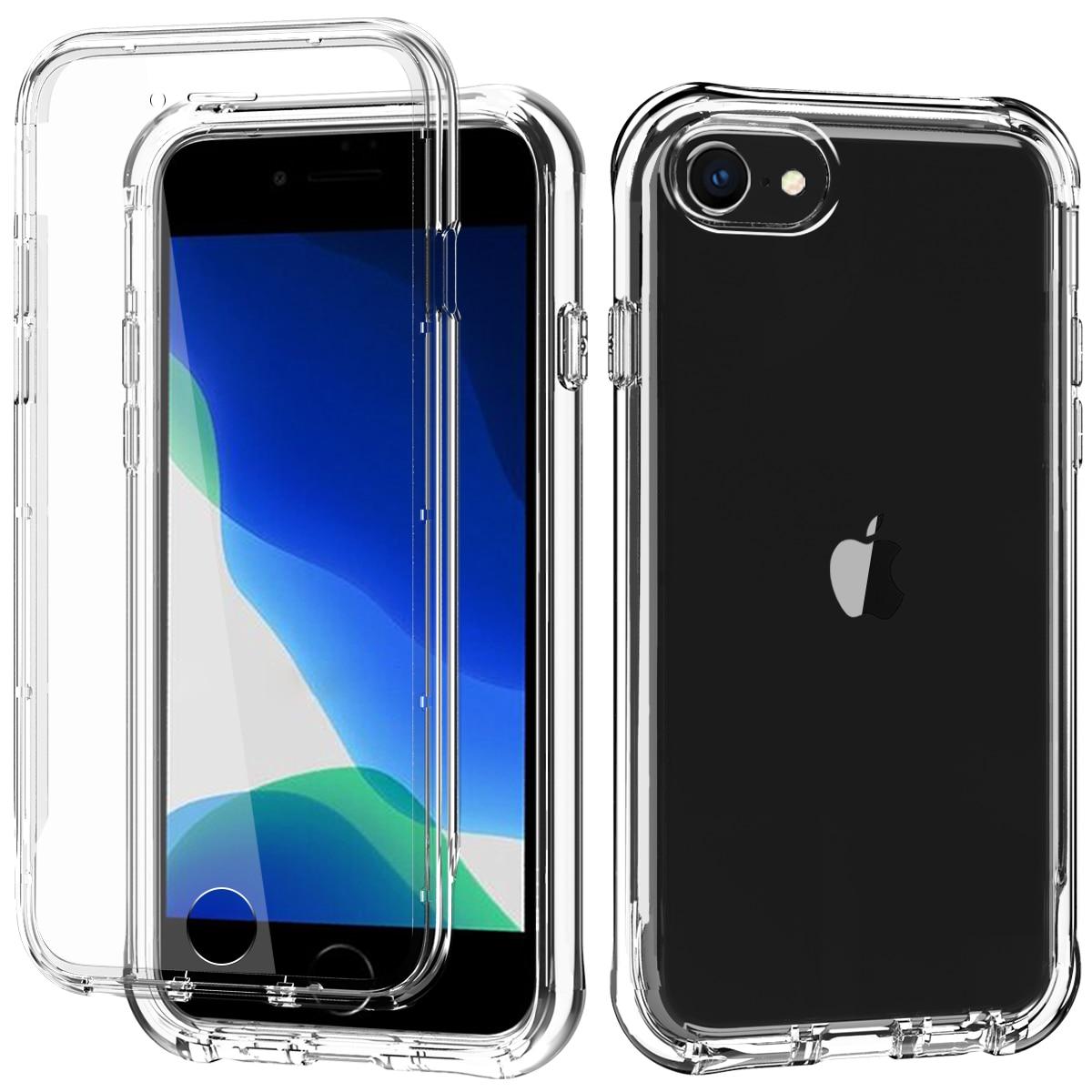 Para o caso do iphone se 2020, caso do iphone 7 8, protetor de tela embutido à prova de choque dupla camada protetora plástico duro & tpu macio