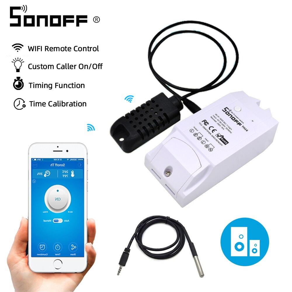 Sonoff TH16 Relais Modul Smart Home Wifi Schalter Feuchtigkeit Sensor Temperatur Monitor Arbeitet Mit Alexa Google Hause