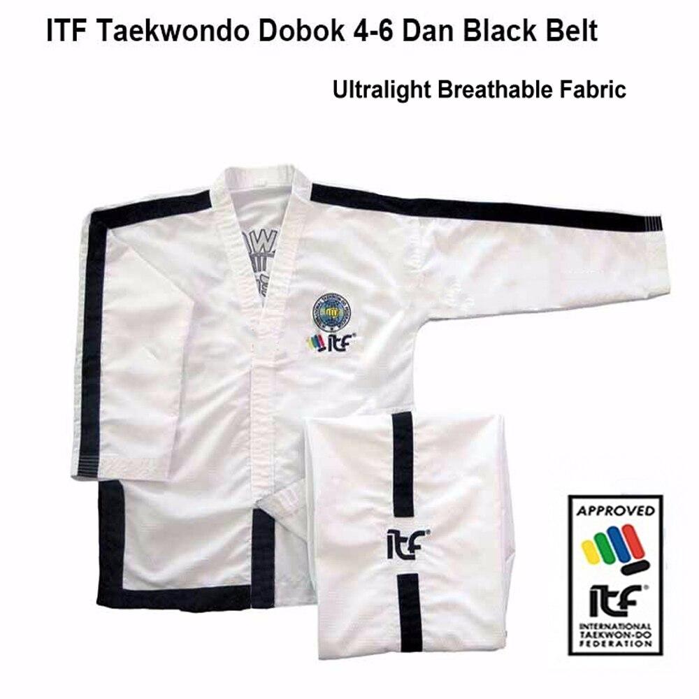 ITF taekwon-do aprobado 1-6 Dan ultraligero transpirable uniforme blanco Taekwondo Kimono asistente maestro Doboks con traje de bordado