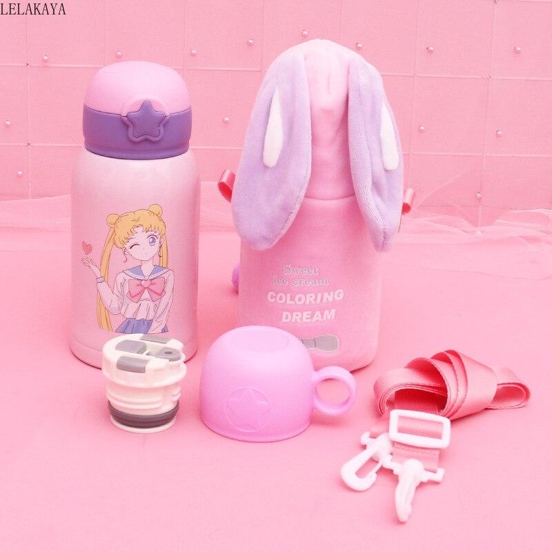 Taza de alimentación de conejo de dinosaurio de dibujos animados de bebé de 500ml con taza con pajita figura de acción Sailor Moon Taza Termo de acero inoxidable botella de agua