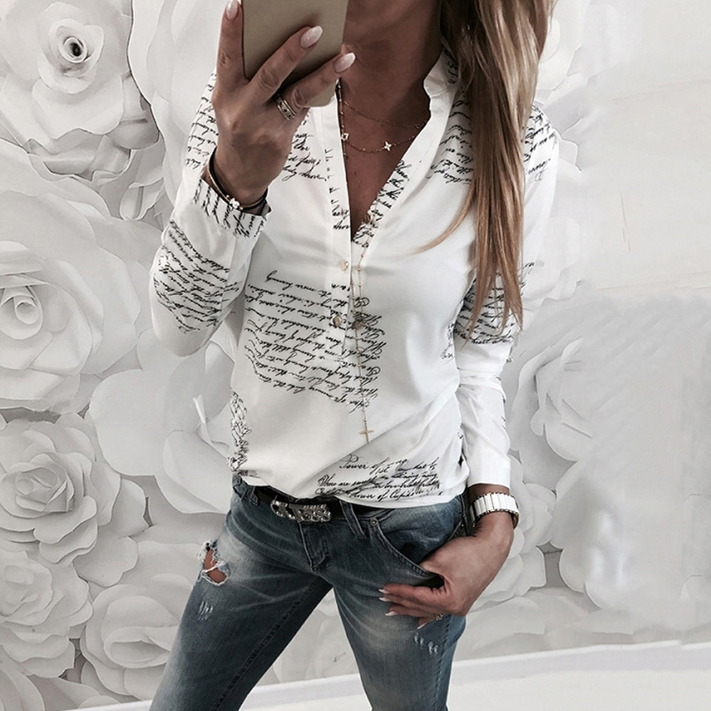 Autumn 2020 New White Letter Printed Ladies Shirt Long Sleeve Lapel Office Ladies Shirts Women Single Row Button Blouses