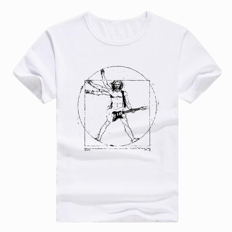Talla asiática impresión Da Vinci Rock música guitarra divertida camiseta manga corta cuello redondo Camiseta para hombres y mujeres