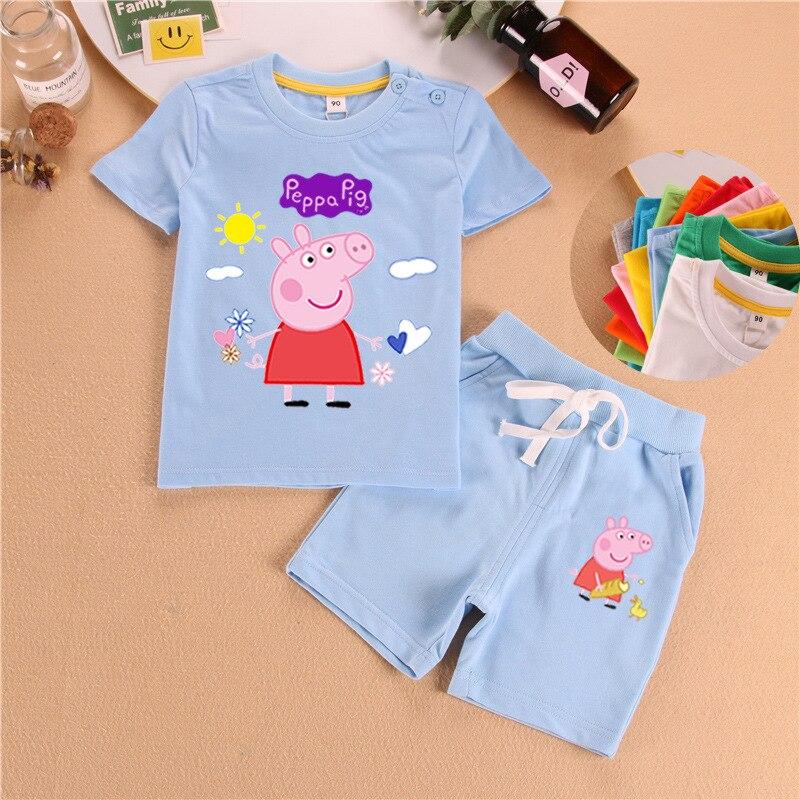 Peppa Pig conjunto de manga corta de algodón de verano de los bebés azul suave pantalones cortos traje camiseta Todder niño y niña niños ropa de dibujos animados