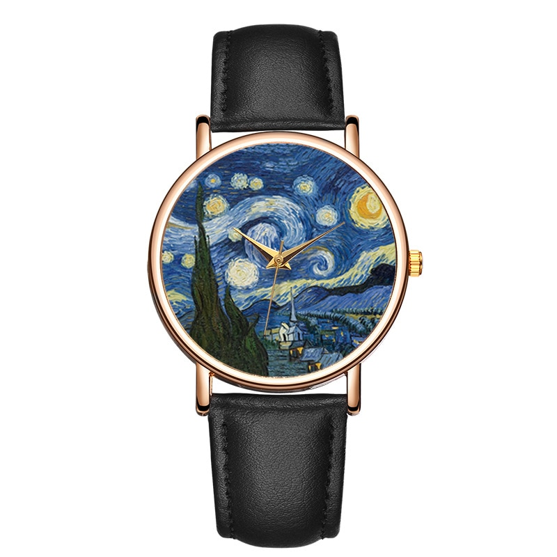 New Fashion Women Watch Top Brand Van Gogh's Starry Sky Men Watches Leather Strap Quartz Clock Coupl