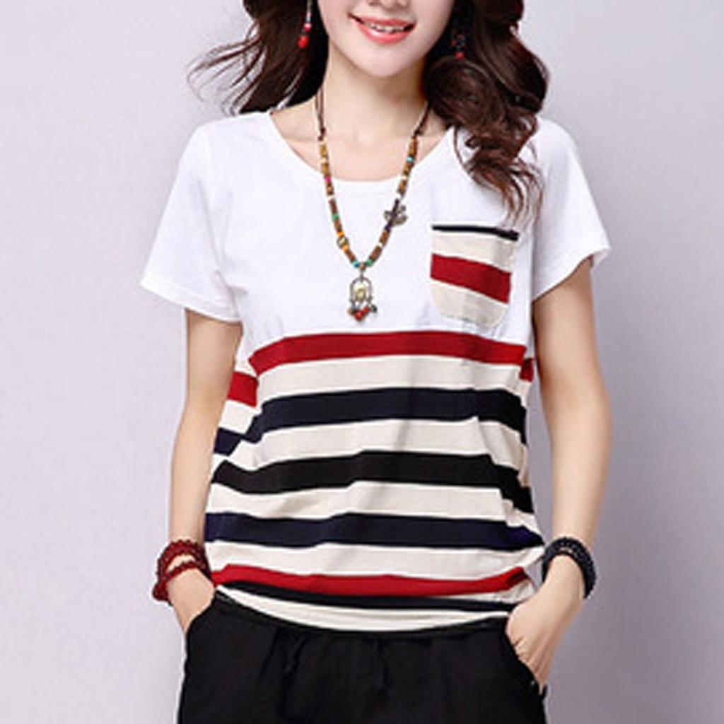 Camiseta suelta de talla grande de poliéster a rayas con cuello redondo de manga corta con bolsillo superior informal de verano Camiseta Mujer Camiseta femenina