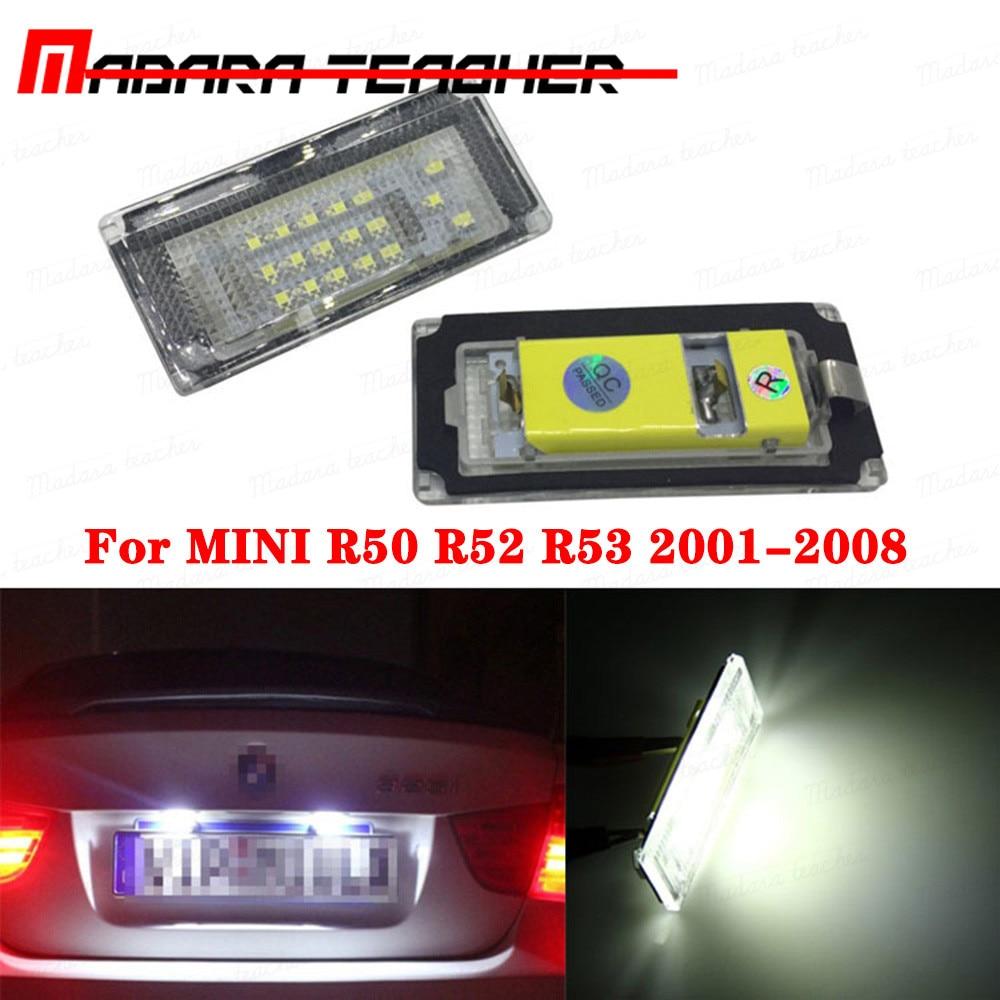 LED para matrícula de coche luces 12V SMD blanco para BMW Mini Cooper S R50 R52 R53 2X LED lámpara con forma de número bombilla Kit 6000K Accesorios