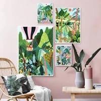 Affiches et imprimes nordiques avec tigre et leopard  guepard  Jungle  peinture sur toile avec animaux  images naturelles pour decoration de maison