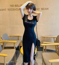 ¡Nuevo verano 2020! Vestido largo sexy de manga corta con abertura en la cintura para mujer, vestido de fiesta coreano estilo japonés